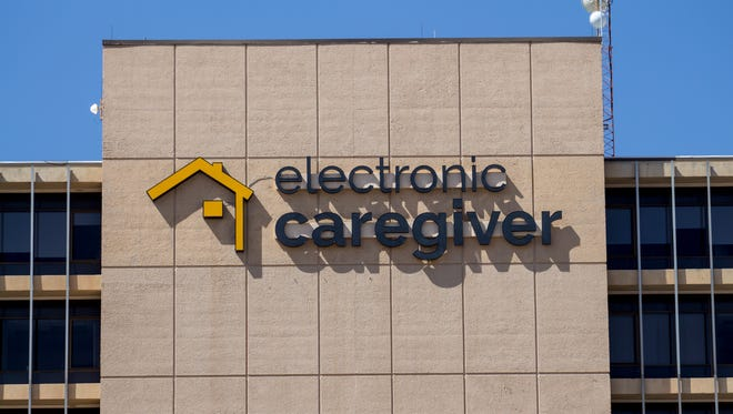 An Electronic Caregiver now graces the exterior of Las Cruces Tower, the tallest building in Doña Ana County. Electronic Caregiver has offices on the first and 10th floors of the building. Saturday, April 7, 2018.