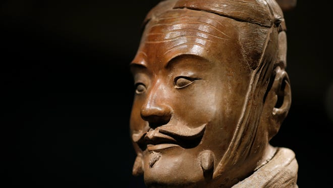 Terracotta soldiers in the new Terracotta Army: Legacy of the First Emperor of China exhibit at the Cincinnati Art Museum in the Mount Adams neighborhood of Cincinnati on Thursday, April 19, 2018.