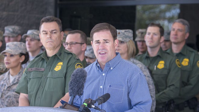 """in an article inThe Arizona Republic that published April 13 online, Gov. Doug Ducey said, """"(Illegal border crossings had) a 200 percent surgeyear over year,March 2017 to 2018. And a 37 percent increase from Februaryto March.""""  ."""
