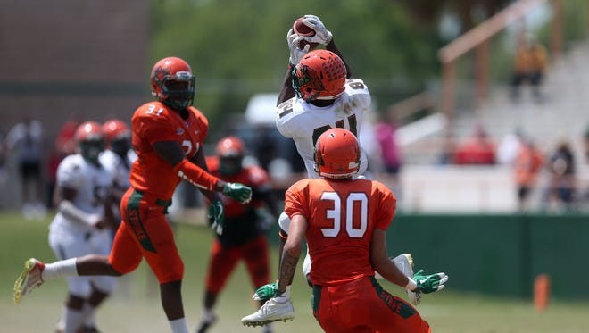 Wide receiver Chad Hunter makes a catch during the FAMU spring game held Saturday, April 21, 2018 at Bragg Memorial Stadium.