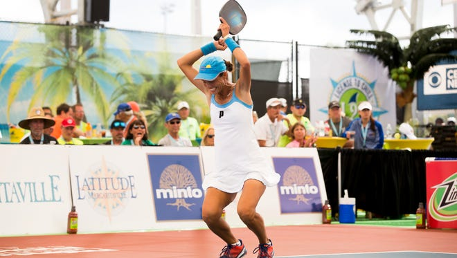 Simone Jardim collapses to the court in exuberance after defeating Lucy Kovalova in dominating fashion in the women's Pro division Pickleball Championship match during the first day of the 2018 U.S. Open Pickleball Championships at East Naples Community Park Sunday, April 22, 2018 in Naples.