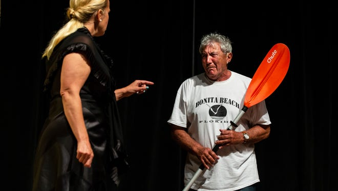 """Bob Stabile, right, and Laura Schueneman rehearse a scene from a play titled """"Cuckoo"""" for the second annual production of Stage It! 10 Minute Plays at the Center for Performing Arts in Bonita Springs on Tuesday, April 24, 2018. Ten 10-minute plays were chosen to be performed by Center for the Performing Arts Community Players for the second annual international competition and festival this weekend."""