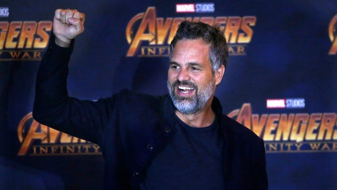 "Mark Ruffalo cheers on the crowd at a press conference for ""Avengers: Infinity War"" in Mexico City in April."