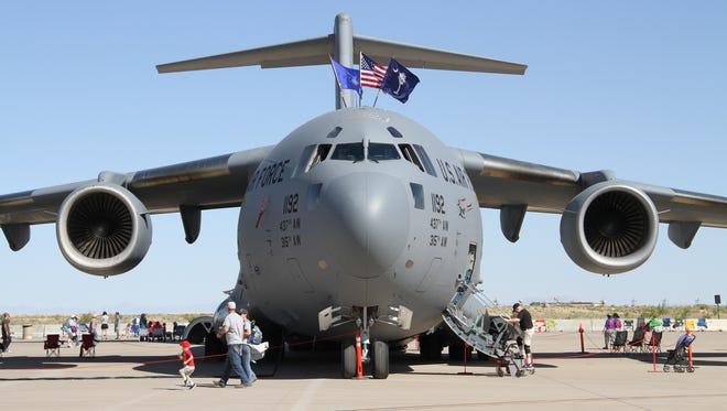 A C-17 Globemaster III sits on display at Holloman Air Force Base during the 2018 Holloman Air and Space Expo Saturday.
