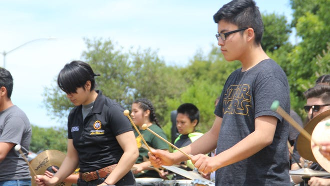 "Youth musicians play a set piece called ""Nine to Five"" Sunday afternoon at Natividad Creek Park in North Salinas as part of ""Take It Outside Salinas!"""