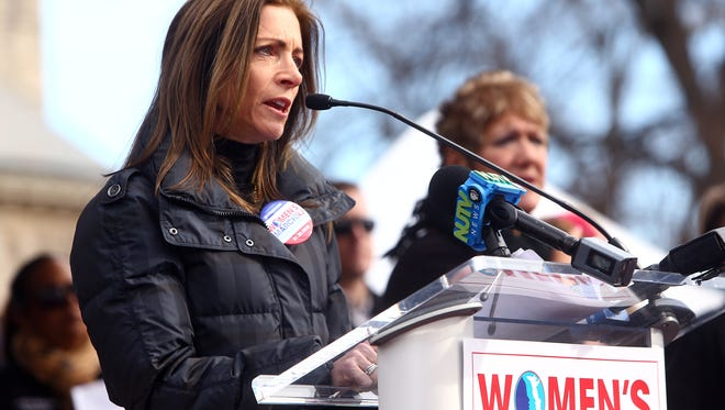 New Jersey first lady Tammy Murphy addresses more than 15,000 people at the Women's March on Jan. 20, in Morristown.