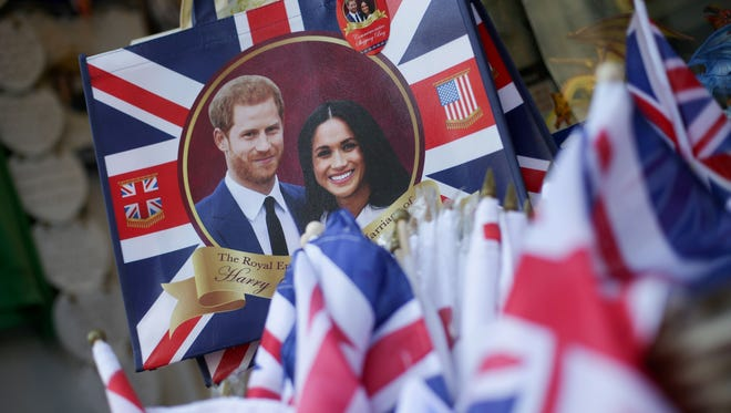 Memorabilia celebrating the the forthcoming wedding between Britain's Prince Harry and his US fiancee Meghan Markle are pictured for sale in a gift shop in Windsor, west of London.