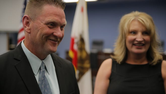 Jeffrey Johnson, the new Salinas fire chief, with his wife Kim.