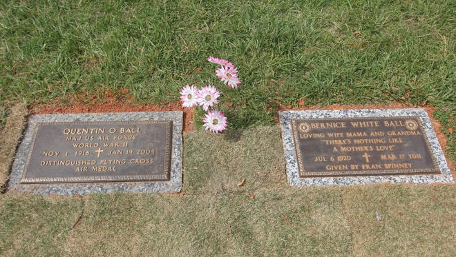 The new graves of Quentin and Bernice Ball, the parents of Greenville County School Board member Crystal Ball O'Connor.