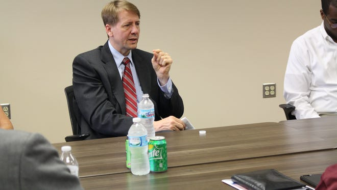 Democratic governor candidate Rich Cordray speaks with Richland County community leaders Monday, May 21, 2018. The group gathered to discuss the opioid epidemic.