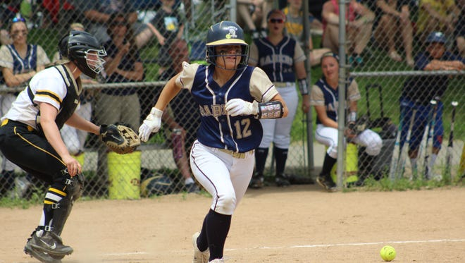 Susquehanna Valley's Olivia Parker heads to first base after laying down a bunt in the fourth inning of Saturday's Section 4 Class B final at the BAGSAI Complex. SV defeated Windsor, 8-0.