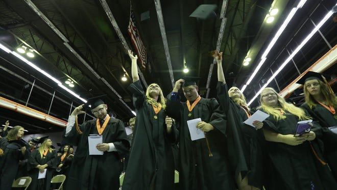 Marshfield High School held its 2018 graduation celebration Saturday, May 26, 2018, at the school gymnasium in Marshfield, Wisc. T'xer Zhon Kha/USA TODAY NETWORK-Wisconsin