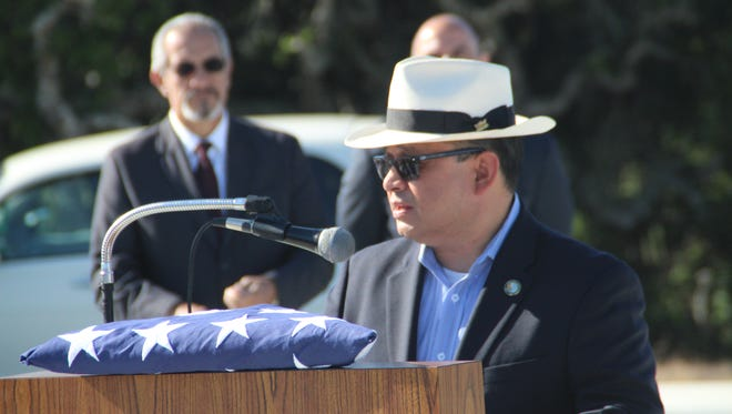 Monterey County Chairman Luis Alejo speaks at the first Memorial Day Ceremony at the California Central Coast Veterans Cemetery Monday morning.