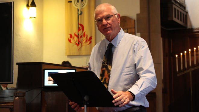 Chaplain Norris Burkes speaks during a service at Trinity Lutheran Church in Crestline on Sunday, June 3, 2018. Burkes shared a message of loving both your friends and your enemies.
