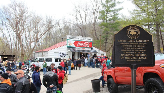 The Rabbit Hash General Store opened for business on April 1, 2017, after being rebuilt from the ground up after an electrical fire in February 2016.