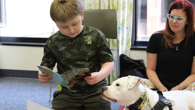 "Michael Yerkes, 8, reads to therapy dog Cole, an American Bull Dog mix, as one of Cole's handlers, Nikki Sapello, looks on. Cole, who is a little over a year and a half, is deaf. However, that does not stop him from supporting the children he visits. ""He is very in tune to facial expressions and body language,"" said Chris Hannah, Cole's other handler."