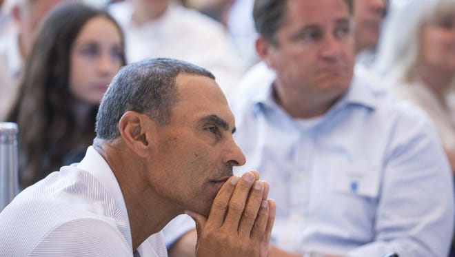 ASU coach Herm Edwards listens to the speeches during The Positive Coaching Alliance‐Arizona at Talking Stick Resort Arena on Monday, June 11, 2018.