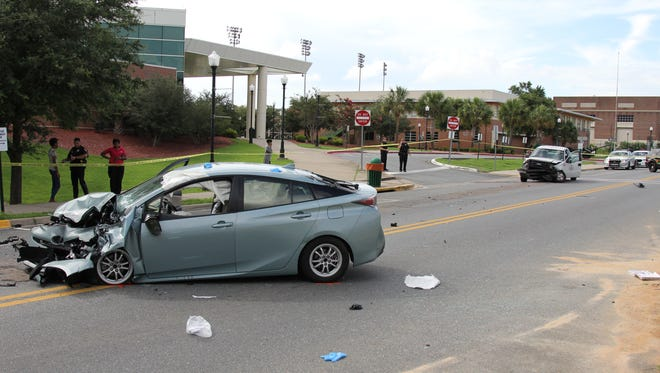 Two people were hospitalized in a crash on Florida A&M University's campus Wednesday. A FAMU facilities truck was involved in the crash. One person is suffering from non-life threatening injuries and one is suffering from life-threatening injuries.