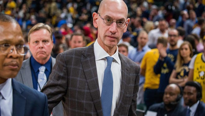 NBA Commissioner Adam Silver walks off the court after game four between the Indiana Pacers and the Cleveland Cavaliers in the first round of the 2018 NBA Playoffs at Bankers Life Fieldhouse.