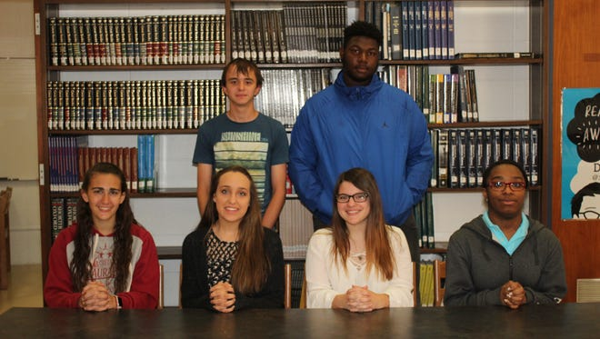 Millville High School's Students of the Month for May are: (Seated, from left) Kaitlin Thompson, Gillian Geisinger, Marissa Cook and Kye Erwin; and (standing, left) Julius Kuhne and Sam File. Emily Delrossi is not pictured.