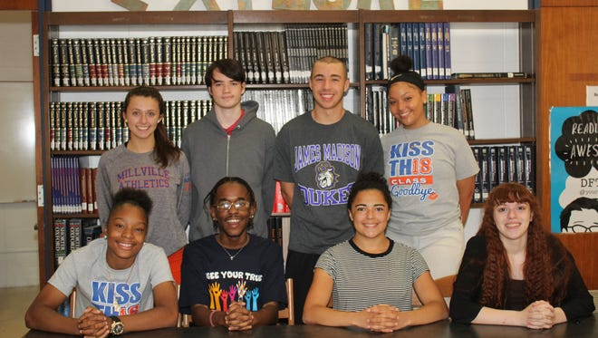 MILLVILLE - Millville High School's Students of the Month for June are: (Seated, from left) India Parker, Michael Davila, Mykaela Finley and Kimberly Taylor; and (standing, from left)Madalyne Blair, Colin Breeden-Fallows, Alan Richter and Sandra Cruz.
