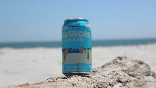 Onshore lager is one of two new Flying Fish beers released in 12 oz. cans. A portion of the proceeds from sales of the beer will go to Clean Oceans Action.