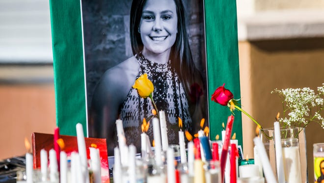 Friends and family mourn Brooke Rice, a 16-year-old St. John Neumann High School student who died in a car crash Saturday night in North Naples, during a memorial at the high school in Golden Gate City on Monday, July 2, 2018.