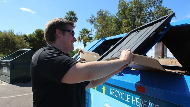 A Phoenix eco-station where apartment residents can take recyclables if their complex doesn't offer it.