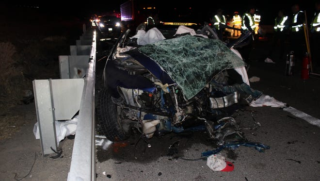 One of the vehicles involved in a June 30 wrong-way crash on Interstate 80 near Reno. Four people were pronounced dead at the scene and two were injured.