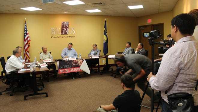 Sen. Jon Tester (D-MT) listens to the concerns of Montana agriculture and business leaders over the United States's worsening trade war during a panel discussion in Billings on July 5