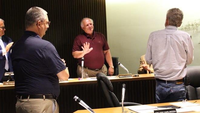 Water treatment plant manager and public works director Angelo Klousiadis is recognized at Mansfield City Council on Tuesday, July 5, 2018. Klousiadis is retiring later this year after working for the City of Mansfield for 45 years.