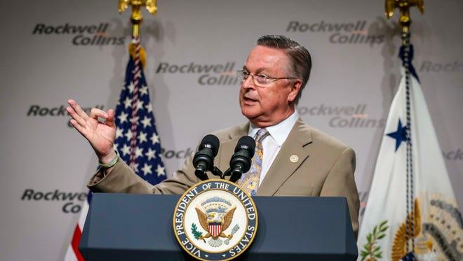 U.S. Representative Rod Blum (R-Ia.) speaks July 11 at Rockwell Collins in Cedar Rapids.
