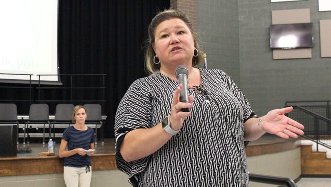 Madison Superintendent Shelley Hilderbrand answers questions during a question-and-answer session Wednesday, July 11, 2018. Board member Amy Walker is in the background.