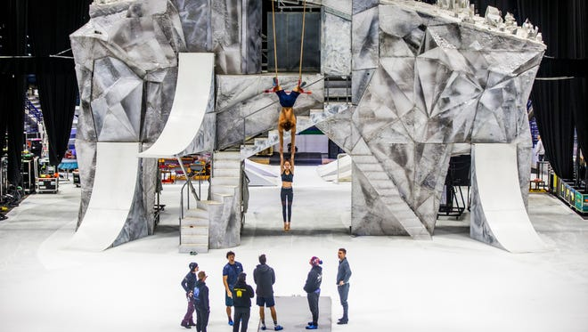 """Performers from Cirque du Soleil's production of """"Crystal"""" rehearse at Germain Arena in Estero on Thursday, July 12, 2018. The show runs through Sunday, July 15."""