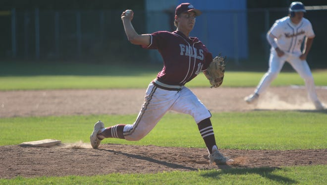 Menomonee Falls pitcher Alex Heitman delivers a pitch in a sectional final against Germantown on July 16, 2018.