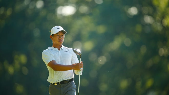 Shuai Ming Wong watches his tee shot on the second hole during the round of 32 at the 2018 U.S. Junior Amateur at Baltusrol Golf Club in Springfield, N.J. on Thursday, July 19, 2018.
