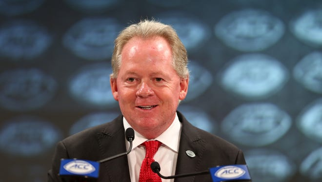 Louisville Cardinals head coach Bobby Petrino speaks with the media during ACC football media day at The Westin in Charlotte, North Carolina, on Thursday, July 19, 2018.