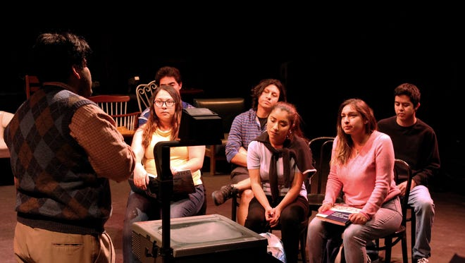 "(left to right) Arturo Martinez as ""Mr. Smith,"" Jasmine Zepeda as ""Elissa,"" Jonathan Perez as 'Student 1,"" Mireya Pamatz as 'Yadira,"" Nancy Garcia Camarena as ""Clara,' and Bryan Torrez as ""Student 2"" rehearse for the Western Stage 2x4BASH production of ""Just Like Us."""