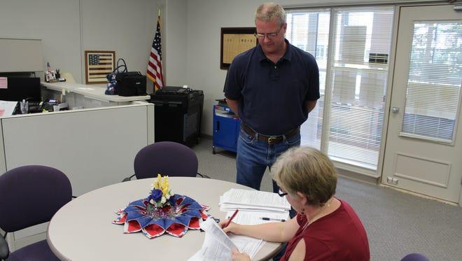 Kraig Dingman drops off recall petition signatures to the Calhoun County Clerk-Elections Office for the recall of Bedford Charter Township Supervisor Adam Heikkila.