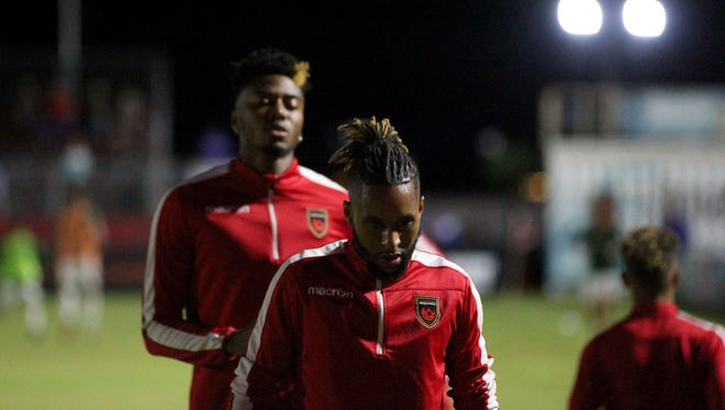 Phoenix Rising players warm up before their game against the Portland Timbers 2 on Saturday night at Phoenix Rising Soccer Complex on Oct. 13.