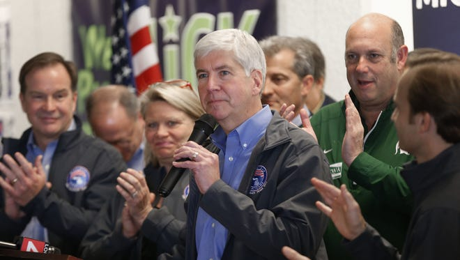 Gov. Rick Snyder speaks during a campaign stop in Utica.
