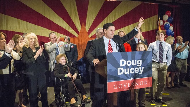 Doug Ducey wins Governor race speaks to Republicans supporters who gather to celebrate victory at the Hyatt hotel in downtown Phoenix on Nov. 4, 2014.
