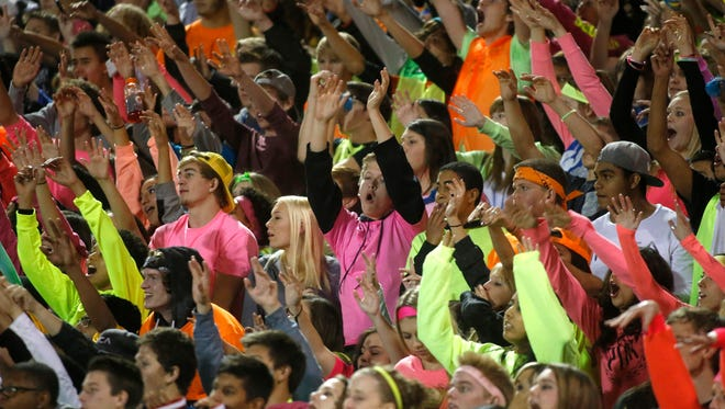 Chandler High School fans cheer during the  Division I football semifinal game against Mountain Pointe on Nov. 21, 2014.