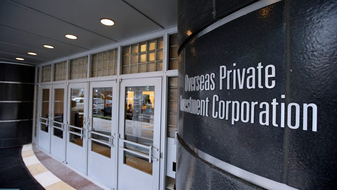 In this photo taken Jan. 21, 2015, the Overseas Private Investment Corporation (OPIC) building is seen on New York Avenue NW in Washington.