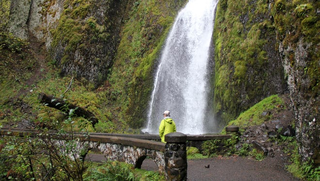 Hiking below the main drop of Wahkeena Falls, which can be viewed on a 5.4 mile loop hike that begins and ends at Multnomah Falls in the Columbia River Gorge.