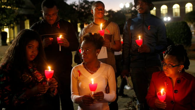 Students and faculty gather on the quad of FAMU's campus for a candlelight vigil during a previous World AIDS Day.