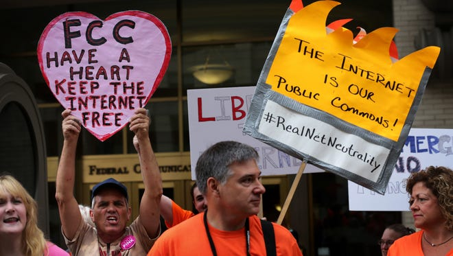 Protest outside the Federal Communications Commission in May.