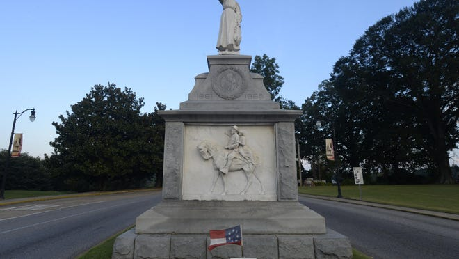 The Emma Sansom monument, located in the middle of downtown's Broad Street, is shown in a file photo.