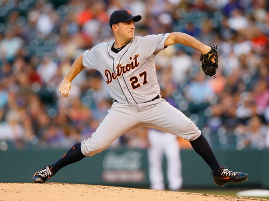 Tigers pitcher Jordan Zimmermann delivers to home plate during the first inning of an interleague game against the Rockies on Monday, Aug. 28, 2017, in Denver.
