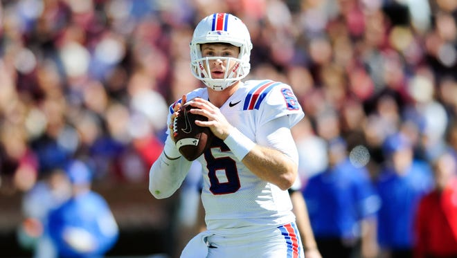 Louisiana Tech Bulldogs quarterback Jeff Driskel (6) looks to throw the ball during the first half against Mississippi State Bulldogs at Davis Wade Stadium. Mandatory Credit: Joshua Lindsey-USA TODAY Sports